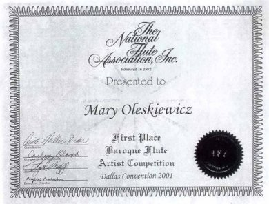 testimony of winning the baroque flute or traverso competition at the Dallas NFA convention